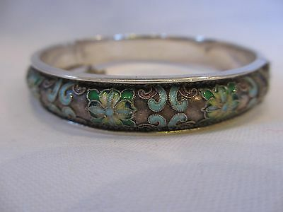 Gorgeous Antique Chinese Export Sterling Silver Enamel Bracelet Marked Silver