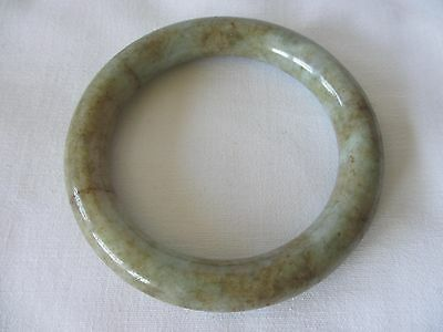 Gorgeous Large Heavy Vintage Chinese  White / Spinach Jade Bracelet