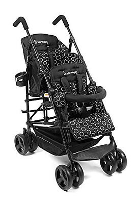 Kinderwagon Hop Black Double Tandem Child Stroller w/ Canopy v2