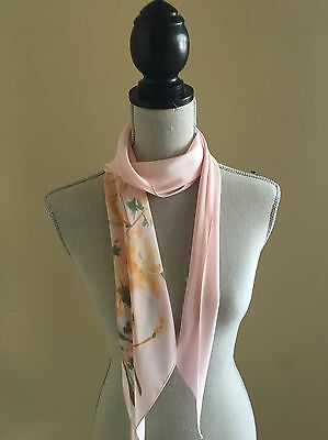 Vintage Vera Sheer 100% Polyester Pink with Orange and Green Flowers Sash/Scarf