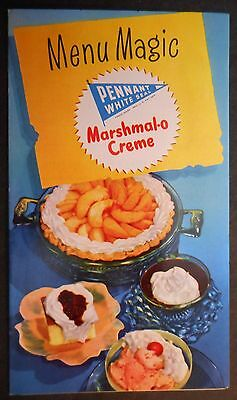 Pennant White Seal Marshmal-o Cream Menu Magic Pamphlet Cookbook 1950's