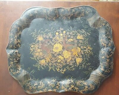 Antique Tole Tray Handpainted Tin Birds & Floral Decoration