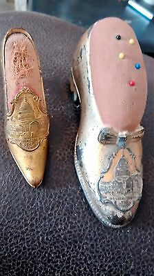 Antique Pair Of Jennings Bros. Souvenir Shoe Pin Cushions Washington D.C.