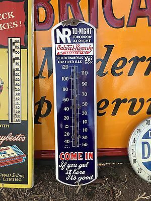 Antique Circa 1915 Nature's Remedy Porcelain Advertising Thermometer Sign