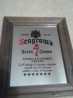 Seagram's Seven 7 Crown Bar Display Advertising Mirror Plaque