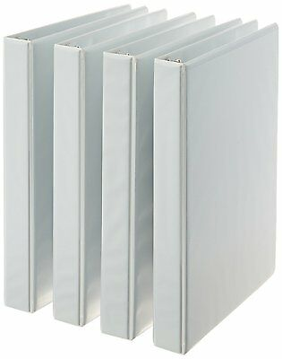 AmazonBasics 3-Ring Binder, 1 Inch - 4-Pack White
