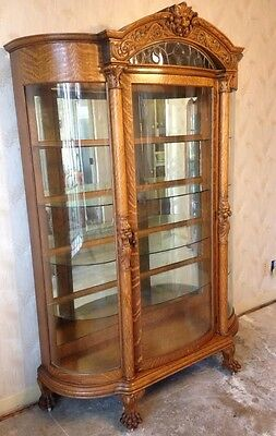 Antique Large Oak Curved Glass Carved China Cabinet With Decorative Leaded Glass