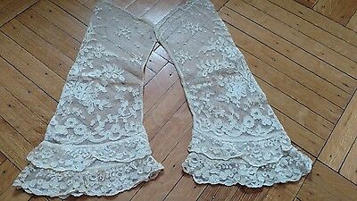 ANTIQUE VTG net lace ruffled sleeves SHIRT arms tambour victorian OLD