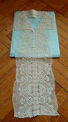 SHABBY antique VTG VICTORIAN STYLE OLD tambour NET lace collar