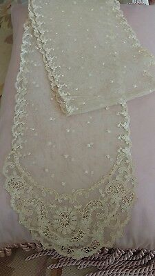 SHABBY antique VTG net lace runner DOILY SKINNY TAMBOUR LACE? OLD VICTORIAN