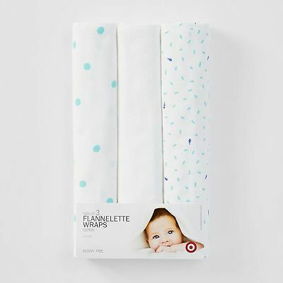NEW Pack of 3 Flannelette Wraps - Trees