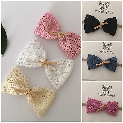 Headband Baby Girl Toddler Newborn Leather Lace Bow Nylon Hair Band Accessories