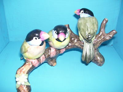 3 Parakeets Bird Figurine On A Log Made In Spain Signed Free Shipping