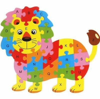 Wooden Blocks Kid Child Educational Alphabet Puzzle Jigsaw Toy ~Lion~ ^