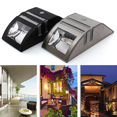 Solar Power Motion Sensor 2 LED Stainless Steel Outdoor Garden Wall Lamp Light