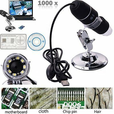 2MP 1000X 8 LED USB Digital Microscope Endoscope Zoom Camera Magnifier + Stand