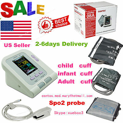 USA CE FDA ARM Digital Blood Pressure Monitor CONTEC08A+3 Cuffs+SPO2+PR+Software