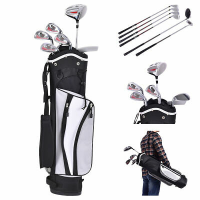 New 6 Piece Golf Club Set for Kids Wood Iron Putter w/Stand Bag Age 11-13 Silver