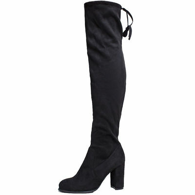 Womens Over the Knee Thigh High Block Heels Stretch Boots Size
