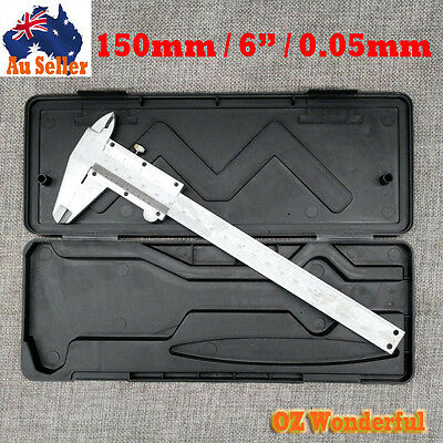 """Vernier Caliper Gauge Stainless Steel Micrometer 150mm 6"""" Inch 0.05mm with case"""