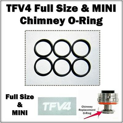 6 - TFV4 Chimney Orings ALSO FITS MINI ( ORing O-Rings Seals smok ) LEAKBUSTERS!
