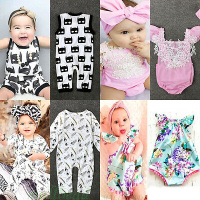 Newborn Toddler Kids Baby Boys Girls Romper Jumpsuit Bodysuit Clothes Outfit Set