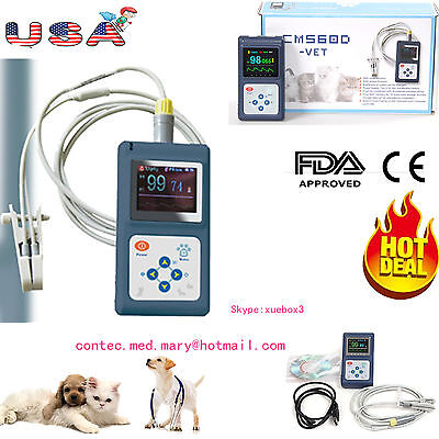 VET animal pulse oximeter Veterinary SpO2 PR monitor with Tongue probe+USB+SW US