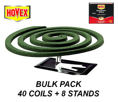 BULK 40 Pack Mosquito Coils with 8 Stands - Extra Strength - Burns up to 8 Hours