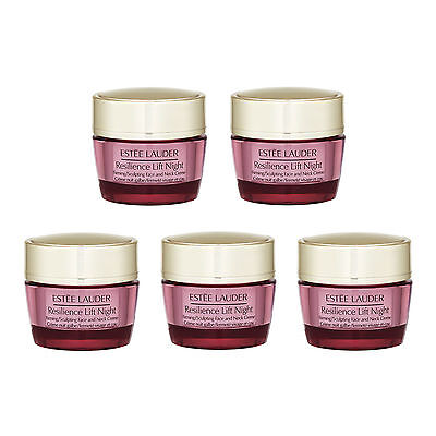 5x Estee Lauder Resilience Lift Firming/Sculpting Face and Neck Night Creme 15ml