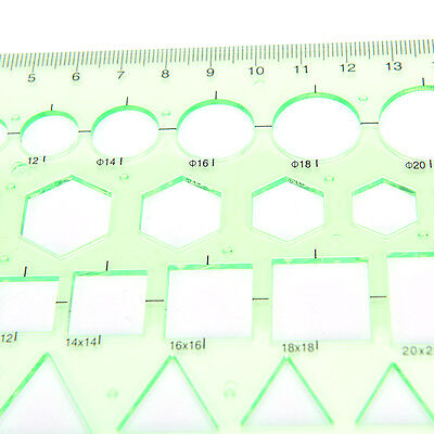 Multi-shape Geometric and Circle Template Ruler -Green Useful for Students