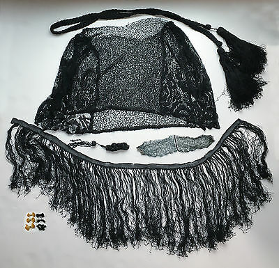 Lot 10 Antique Black Lace Beaded Trim Remnants Victorian Fringe SL1