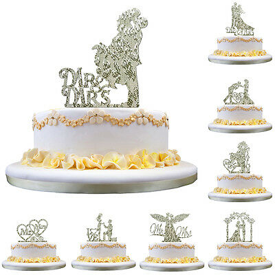 Wedding Party Mr & Mrs Bride & Groom Cake Topper Anniversary Favours Decor