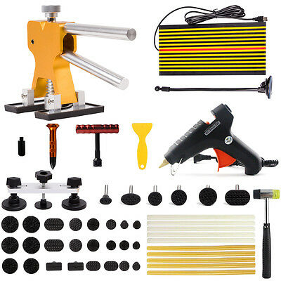 PDR Puller Lifter+LED Line Board Hail Removal Paintless Dent Repair Glue Gun Kit