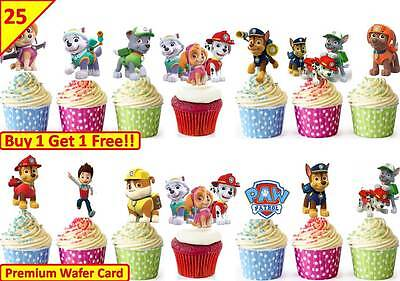 50 Paw Patrol Edible Cup Cake Fairy Toppers Birthday Party Decorations STAND UP