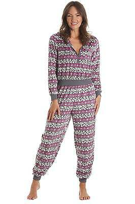 Camille Womens Ladies Nightwear Soft All In One Grey And Pink Hooded Sleepsuit