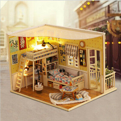DIY Dollhouse With LED Lights Wooden Assembled Model Creative Gift For Kids