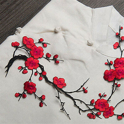 Plum Blossom Flower Applique Clothing Embroidery Patch Sticker Iron On Sew Cloth