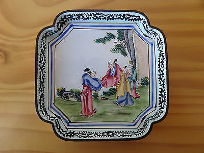 c.18th - Antique Chinese Famille Rose Canton Enamel Tray Plate - Qianlong