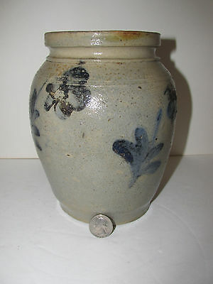 Antique Philadelphia Stoneware Jar, Crock, Cobalt flowers, Circa 1850's