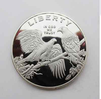 American Eagle Liberty Silver Plated Fantasy Novelty Art Coin - Nice!!!!