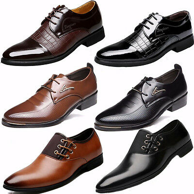 Mens Business Dress Formal Leather Shoes Flat Oxfords Lace Up Pointy Toe Loafers