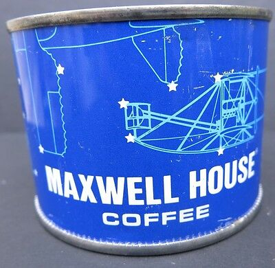 VINTAGE MAXWELL HOUSE COFFEE TIN with STARS & AIRPLANES - SMALL 3.2 OZ