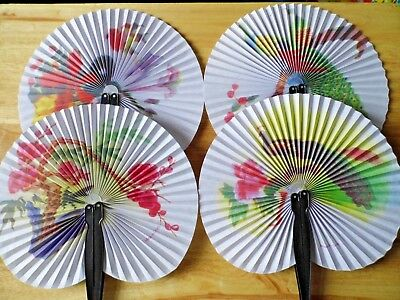 Vintage Look Japanese Style Hand Fans Manual Paper Fan Fold Up 4 Designs