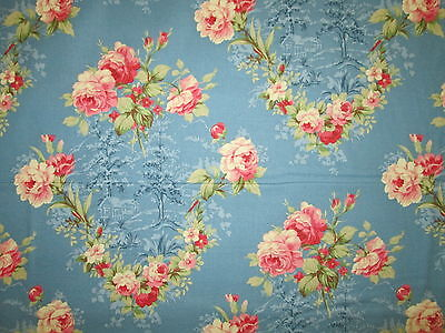 Antique Flowers Roses Leaves Flower Rose Blue Teal Pink Cotton Fabric Bthy