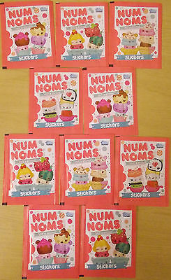 Num Noms ~ Topps Sticker Collection ~ 10 x Sealed Sticker Packs = 50 Stickers