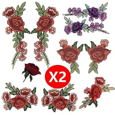 2X Rose Flower Floral Collar Patch Applique Badge Embroidered Sew on Dress Craft