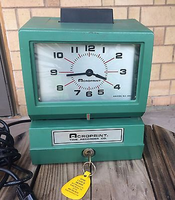 Acroprint Time Recorder 125 ER3 Heavy-Duty Manual Time Clock Punch w/Key
