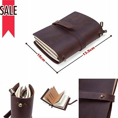 DIY Vintage Leather Blank Handmade Diary Notebook Journal Travel Note Draw Brown