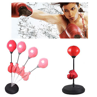 Standing Adjustable Height Adult Punch Bag Ball Set Includes Gloves Boxing 4/5Ft