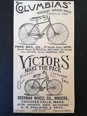 "ANTIQUE ORIGINAL PRINT AD 1891 (A21)~""COLUMBIAS"" And ""VICTORS"" BICYCLE'S"